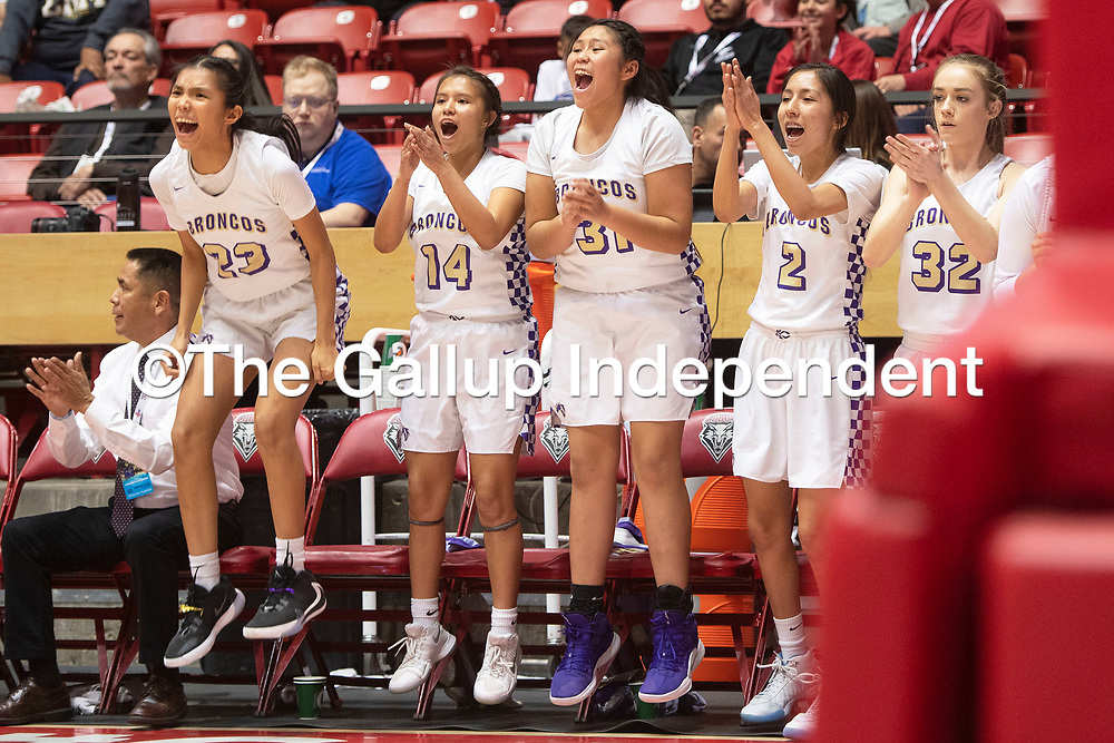 The Kirtland Central Broncos bench cheer on their team in the fourth quarter against the Gallup Bengals during their 4A girls NMAA State Basketball quarterfinal playoff game at Dreamstyle Arena (The Pit) Tuesday night in Albuquerque. The Broncos beat the Bengals 61-54 to advance to the semifinal round.