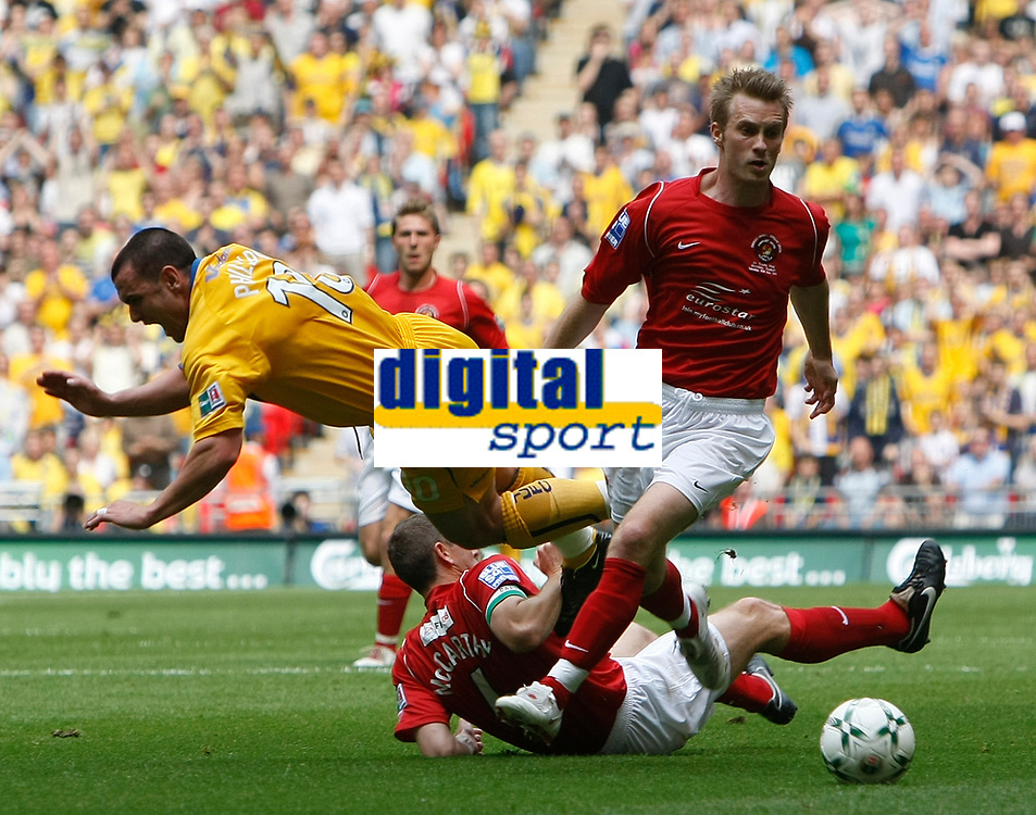 Photo: Steve Bond/Richard Lane Photography. <br />Ebbsfleet United v Torquay United. The FA Carlsberg Trophy Final. 10/05/2008. Lee Phillips (L) is fouled by Paul McCarthy (ground) who is booked