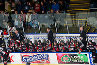 KELOWNA, CANADA - JANUARY 3: The Prince George Cougars sit on the bench against the Kelowna Rockets on January 3, 2015 at Prospera Place in Kelowna, British Columbia, Canada.  (Photo by Marissa Baecker/Shoot the Breeze)  *** Local Caption ***