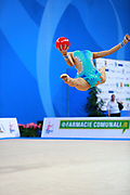 Harutyunyan Lilit during qualifying at ball in Pesaro World Cup 1 April 2016. Lilit is an Armenian rhythmic gymnastics athlete born  May 5, 1995 in Erevan,  Armenia.