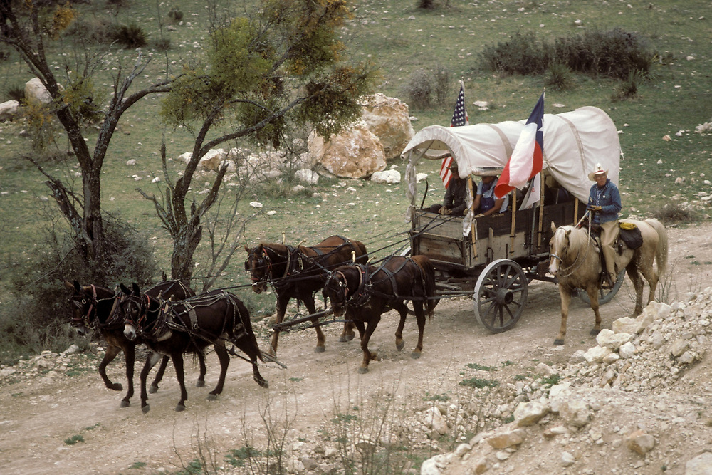Wagon with Texas flag pulled by four horses on trail from Y/O Ranch in Texas while cowboy on horse rides along side.<br /> ©Bob Daemmrich/