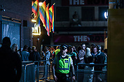 "Police are seen observing the area, meanwhile, people enjoying a late after mid-night out in Soho's 'G.A.Y., Late' in London's West End on early Monday, Sept 14, 2020. The public has been urged to act ""in tune"" with Covid-19 guidelines as the ""rule of six"" restrictions is into force on Monday. The British government's scientific advisory board announced on Friday that the reproduction number of coronavirus transmission across the UK was now over 1.0. The Science and the Scientific Advisory Group for Emergencies (SAGE) said the R-value was now between 1.0 and 1.2. (VXP Photo/ Vudi Xhymshiti)"