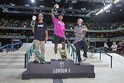 Nyjah Huston from USA 1st, Gustavo Ribeiro from Portugal, 2nd and Shane O'Neill, Australia 3rd during the men's podium of the Street League Skateboarding World Tour Event at Queen Elizabeth Olympic Park on 26th May 2019 in London in the United Kingdom.
