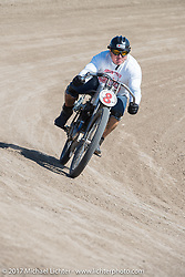 Freddy Bollwage on a 1921 Harley-Davidson racer in the Sons of Speed banked dirt oval racing at the Full Throttle Saloon during the annual Sturgis Black Hills Motorcycle Rally. Sturgis, SD. USA. Thursday August 10, 2017. Photography ©2017 Michael Lichter.