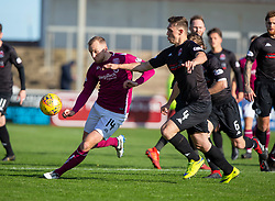 Arbroath's Greig Spence and Clyde's Craig Howie. half time : Arbroath 0 v 1 Clyde, Tunnocks Caramel Wafer Challenge Cup 4th Round, played 12/10/2019 at Arbroath's home ground, Gayfield Park.