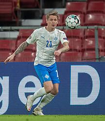 Ari Skúlason (Island) under kampen i Nations League mellem Danmark og Island den 15. november 2020 i Parken, København (Foto: Claus Birch).