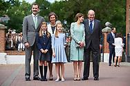 King Felipe VI of Spain, Princess Sofia, Queen Letizia of Spain, Crown Princess Leonor, Queen Sofia of Spain, King Juan Carlos of Spain arrived Asuncion de Nuestra Senora Church for the First Communion of Princess Sofia on May 17, 2017 in Aravaca near of Madrid.