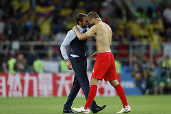 (L-R) coach Gareth Southgate of England, Eric Dier of England during the 2018 FIFA World Cup Russia round of 16 match between Columbia and England at the Spartak stadium  on July 03, 2018 in Moscow, Russia
