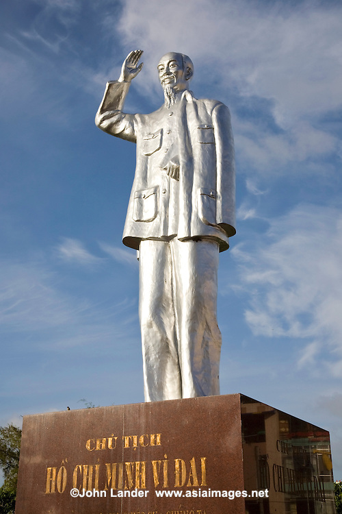 Ho Chi Minh Statue in a slightly elongated version of Uncle Ho at the Can Tho public gardens along the waterfront in central Can Tho.