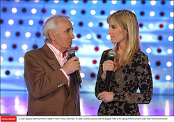 © Jean-Jacques Datchary/ABACA. 53502-4. Paris-France, November 18, 2003. Charles Aznavour and his daughter Katia at the taping of Michel Drucker's talk show Vivement Dimanche.