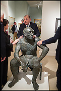 SIR ADRIAN AND LADY SWIRE; DAVID KER; SIMON DICKINSON AROUND A SCULPTURE BY ELIZABETH FRINK, Masterpiece London 2014 Preview. The Royal Hospital, Chelsea. London. 25 June 2014.