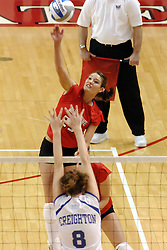 24 November 2006: Peggy Riessen guides the ball towards Lauren Bloemke  during a Quarterfinal match between the Illinois State University Redbirds and the Creighton University Bluejays. The Tournament was held at Redbird Arena on the campus of Illinois State University in Normal Illinois.<br />