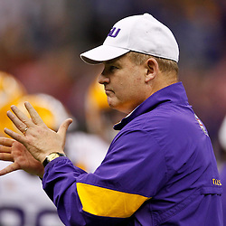 Jan 9, 2012; New Orleans, LA, USA; LSU Tigers head coach Les Miles against the Alabama Crimson Tide before the 2012 BCS National Championship game at the Mercedes-Benz Superdome.  Mandatory Credit: Derick E. Hingle-US PRESSWIRE