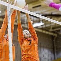 Gallup Bengals Kendall Toadlena (7) and Jordan Joe (5) block a shot from the Aztec Tigers Thursday at Gallup High School.