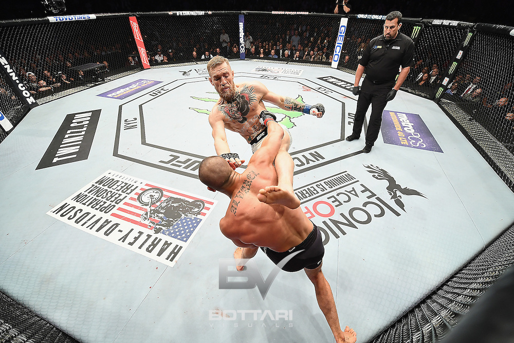 NEW YORK, NY - NOVEMBER 12:  Eddie Alvarez of the United States (bottom) fights against Conor McGregor of Ireland in their lightweight championship bout during the UFC 205 event at Madison Square Garden on November 12, 2016 in New York City.  (Photo by Jeff Bottari/Zuffa LLC/Zuffa LLC via Getty Images)