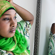 Aarhus, Denmark, May 11, 2010. Nuro, Muslim girl from Somalia who lives in Denmark  studying medicine at the Teknologisk Institut.
