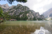 Pragser Wildsee, or Lake Prags, Lake Braies, Dolomites, Italy
