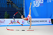 Halford Laura during qualifying at ribbon in Pesaro World Cup 11 April 2015. Laura is a British rhythmic gymnast was born February 25,1996 in Cricklade, England. She is a four-time senior British champion.