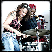 Sue DaBaco and drummer Darrel Douglas  performing live in 2010. Photo © Jennifer Rondinelli Reilly. All rights reserved. No use without permission. Contact me for any reuse or licensing inquiries.