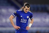 Football - 2020 / 2021 Europa League - Round of 32 - Second Leg - Leicester City vs Slavia Prague - King Power Stadium<br /> <br /> Leicester City's Çaglar Soyuncu dejected as Slavia Prague's Lukas Provod scores the opening goal.<br /> <br /> COLORSPORT/ASHLEY WESTERN