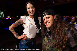 Kissa Von Addams and Brad Gregory at the Iron Horse Saloon during the 78th annual Sturgis Motorcycle Rally. Sturgis, SD. USA. Monday August 6, 2018. Photography ©2018 Michael Lichter.