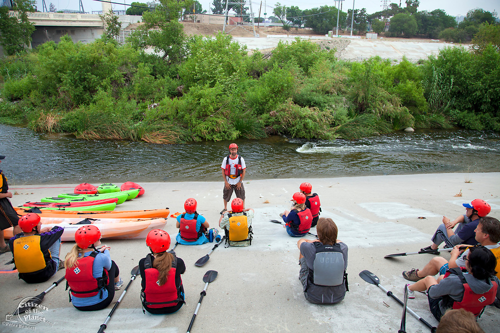 George Wolfe explains safety rules and tips for both new and experienced kayakers. On June 1, 2013, George Wolfe and LA River Expeditions leads a kayak tour down the Los Angeles River. On Memorial Day, the Los Angeles River Pilot Recreational Zone officially opened to the public for kayaking, walking, birdwatching, and fishing along a 2.5 mile stretch of the river in the Elysian Valley. Los Angeles, California