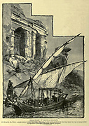 ROCK TOMBS AT GEBEL-ES-SILSILEH. At this point the Nile is scarcely eleven hundred feet wide. The rocky barrier through which the river has forced its way is honeycombed with grottoes of the time of the great Theban dynasties. Wood engraving from 'Picturesque Palestine, Sinai and Egypt' by Wilson, Charles William, Sir, 1836-1905; Lane-Poole, Stanley, 1854-1931 Volume 4. Published in 1884 by J. S. Virtue and Co, London