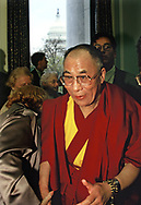 Yher Dalai Lama visits Captiol Hill in May 1997.  The Dalai Lana is in the Rayburn House Office building talking to supporters and the mdeia. <br />Photo by Dennis Brack