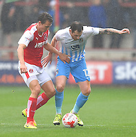 Fleetwood Town's Eggert Jonsson battles with Coventry City's Chris McCann<br /> <br /> Photographer Dave Howarth/CameraSport<br /> <br /> The EFL Sky Bet League One - Fleetwood Town v Coventry Town - Saturday 3 September 2016 - Highbury Stadium - Fleetwood<br /> <br /> World Copyright © 2016 CameraSport. All rights reserved. 43 Linden Ave. Countesthorpe. Leicester. England. LE8 5PG - Tel: +44 (0) 116 277 4147 - admin@camerasport.com - www.camerasport.com