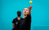 Jessica Pegula of the United States playing doubles at the Mutua Madrid Open 2021, Masters 1000 tennis tournament on May 3, 2021 at La Caja Magica in Madrid, Spain - Photo Rob Prange / Spain ProSportsImages / DPPI / ProSportsImages / DPPI