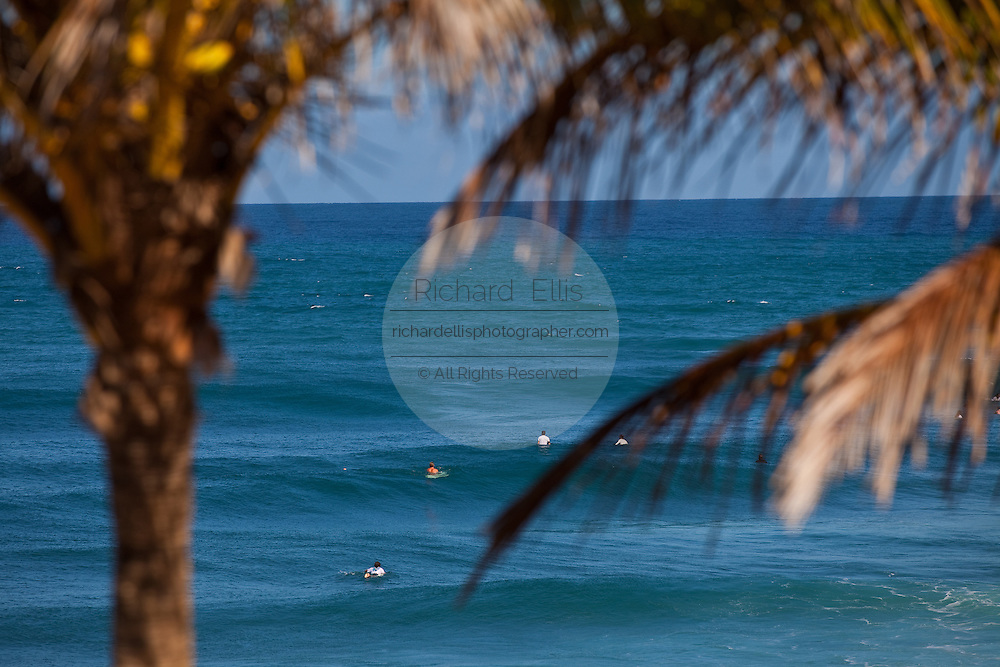 Surfers at Domes beach in Rincon Puerto Rico
