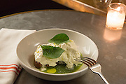 New York, NY, Sept. 10....shots of the restaurant Estela. Burrata with salsa verde and charred bread.