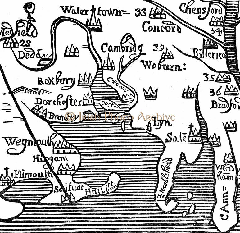 Early map of Massachusetts Bay, America. Massachusetts was first settled by the Pilgrim Fathers, the Puritans who escaped religious persecution in England and sailed to America from Plymouth, England, via Leyden in the Netherlands, in 1620. Woodcut.