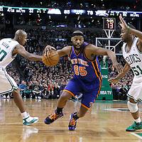 04 March 2012: New York Knicks point guard Baron Davis (85) drives past Boston Celtics point guard Keyon Dooling (51) during the Boston Celtics 115-111 (OT) victory over the New York Knicks at the TD Garden, Boston, Massachusetts, USA.