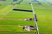 Nederland, Friesland, Gemeente Skarsterlan (Scharsterland), 01-05-2013; Haskerveenpolder tussen Joure en Akkrum. Weidegebied met uitzonderlijk open karakter. De polders hebben na de Tweede Wereldoorog een ruilverkaveling ondergaan met  beter waterhuishouding en rationeel indeling van de kavels als gevolg. Wederopbouwgebied.<br /> Land consolidation of the polder in Friesland (North Netherlands)    just after World War II for better water management and logic lots. Reconstruction area.<br /> luchtfoto (toeslag op standard tarieven)<br /> aerial photo (additional fee required)<br /> copyright foto/photo Siebe Swart