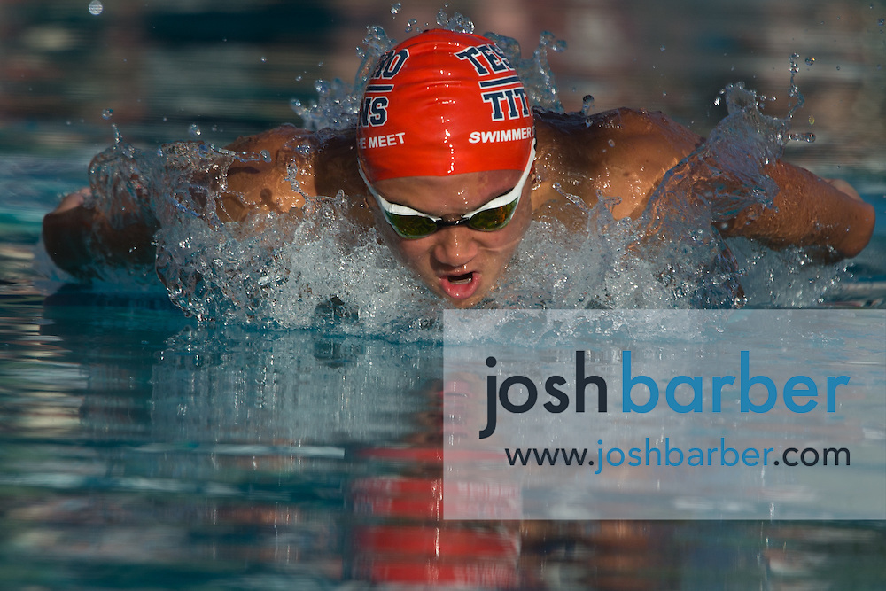 Tesoro's Daniel Kim competes in the boys 100-yard butterfly during the CIF-SS Division 1 Swimming Finals at Riverside City College on Saturday. Kim took third.