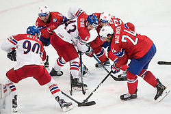 Jan Rutta of Czech Republic, Jonas Holos of Norway, Jan Kovar of Czech Republic, Niklas Roest of Norway and Andreas Martinsen of Norway during the 2017 IIHF Men's World Championship group B Ice hockey match between National Teams of Czech Republic and Norway, on May 11, 2017 in AccorHotels Arena in Paris, France. Photo by Vid Ponikvar / Sportida