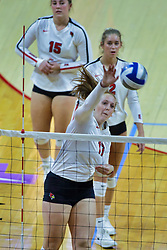 BLOOMINGTON, IL - October 12: Sydney Holt during a college Women's volleyball match between the ISU Redbirds and the Valparaiso Crusaders on October 12 2018 at Illinois State University in Bloomington, IL. (Photo by Alan Look)