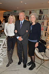 Left to right, LOUISE GUINNESS, PATRICK GUINNESS and JILL, DUCHESS OF HAMILTON at the launch of the 'Jasmine for Jaeger' fashion collection by Jasmine Guinness for fashion label Jaeger held at Fenwick's, Bond Street, London on 9th September 2015.