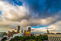 Skyline with Colorado State Capitol Building on right, Downtown Denver, Colorado USA.