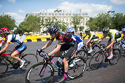 Alena Amialiusik (BLR) of CANYON//SRAM Racing rides in the peloton during the La Course, a 89 km road race in Paris on July 24, 2016 in France.