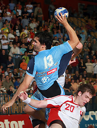 David Spiler of Slovenia and Csaba Szucs of Slovakia at  handball game between men national teams of Slovenia and Slovakia, first qualification game for the World Chamionship 2009, on June 7, 2008, in Arena Zlatorog, Celje, Slovenija. Result: 33 : 33. (Photo by Vid Ponikvar / Sportal Images)
