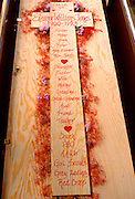 Casket made by family members.  WesternSprings Illinois USA