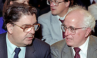 John Hume, leader, SDLP, N Ireland, left, with Kevin McNamara, MP, Labour Party, Shadow Secretary of State for N Ireland, at UK Labour Party annual conference. 199409011.<br /> <br /> Copyright Image from Victor Patterson, Belfast, UK<br /> <br /> t: +44 28 9066 1296 (from Rep of Ireland 048 9066 1296)<br /> m: +44 7802 353836<br /> e: victorpattersonbelfast@gmail.com<br /> <br /> www.images4media.com<br /> <br /> Please see my full Terms and Conditions of Use at https://www.images4media.com/p/terms-conditions - it is IMPORTANT that you familiarise yourself with them.<br /> <br /> Images used online incur an additional cost. This cost should be agreed in writing in advance. Online images must be visibly watermarked i.e. © Victor Patterson or that of the named photographer within the body of the image. The original metadata must not be deleted from images used online.<br /> <br /> This image is only available for the use of the download recipient i.e. television station, newspaper, magazine, book publisher, etc, and must not be passed on to a third party. It is also downloaded on condition that each and every usage is notified within 7 days to victorpattersonbelfast@gmail.com.<br /> <br /> The right of Victor Patterson (or the named photographer) to be identified as the author is asserted in accordance with The Copyright Designs And Patents Act (1988). All moral rights are asserted.