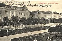 Zagreb : Trg Franje Josipa. <br /> <br /> ImpresumZagreb : Ferd. Ivančič Antikvarna knjižara, [1914.].<br /> Materijalni opis1 razglednica : tisak ; 9 x 14 cm.<br /> NakladnikFerd. Ivančič Antikvarna knjižara<br /> Mjesto izdavanjaZagreb<br /> Vrstavizualna građa • razglednice<br /> ZbirkaGrafička zbirka NSK • Zbirka razglednica<br /> Formatimage/jpeg<br /> PredmetZagreb –– Trg kralja Tomislava<br /> SignaturaRZG-TOM-22<br /> Obuhvat(vremenski)20. stoljeće<br /> NapomenaRazglednica je putovala 1914. godine.<br /> PravaJavno dobro<br /> Identifikatori000952758<br /> NBN.HRNBN: urn:nbn:hr:238:020134 <br /> <br /> Izvor: Digitalne zbirke Nacionalne i sveučilišne knjižnice u Zagrebu
