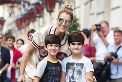 Celine Dion and her twins Eddy and Nelson Angelil leaving their hotel to Optician Meyrowitz in Paris, France on July 17, 2017. Photo by Nasser Berzane/ABACAPRESS.COM    600252_013 Paris France