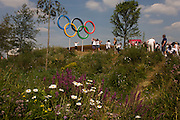 Spectators from many countries pose for family photos beneath giant Olympic rings located on a hill in the Olympic Park during the London 2012 Olympics. This land was transformed to become a 2.5 Sq Km sporting complex, once industrial businesses and now the venue of eight venues including the main arena, Aquatics Centre and Velodrome plus the athletes' Olympic Village. After the Olympics, the park is to be known as Queen Elizabeth Olympic Park.