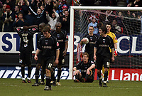 Photo: Chris Ratcliffe.<br />Charlton Athletic v Brentford. The FA Cup. 18/02/2006.<br />Dejected Brentford players after their exit from the FA Cup against Charlton.