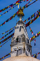A small stupa at the Swayambhunath Temple. The temple sits atop a hill west of Kathmandu, Nepal.