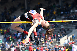 April 28, 2018 - Philadelphia, Pennsylvania, U.S - REGAN LEWIS, (39) of Ball State clears the bar at the CW high jump championship at the 124th running of the Penn Relays in Philadelphia Pennsylvania (Credit Image: © Ricky Fitchett via ZUMA Wire)